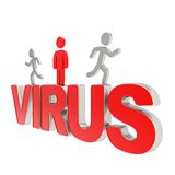 Human running symbolic figures over the word Virus Stock Photography