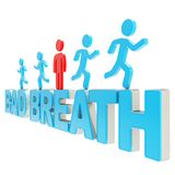 Human running symbolic figures over the words Bad Breath. Bad breath illustration: group of human symbolic figures running over the blue glossy words isolated on Royalty Free Stock Photo