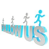 Human running symbolic figures over the words Follow us Stock Photo