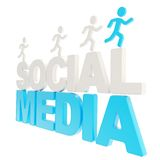 Human running symbolic figures over the words Social Media Stock Photography