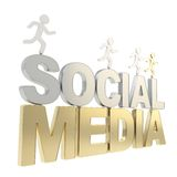 Human running symbolic figures over the words Social Media Stock Image