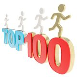 Human running symbolic figures over the words Top Hundred Stock Photography