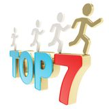Human running symbolic figures over the words Top Seven Royalty Free Stock Images
