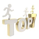 Human running symbolic figures over the words Top Seven Stock Images