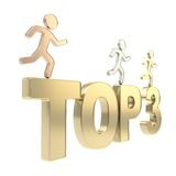 Human running symbolic figures over the words Top Three Royalty Free Stock Photo