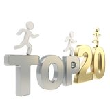 Human running symbolic figures over the words Top Twenty Stock Image