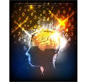Human's brain power illustration. Neon collection Royalty Free Stock Image
