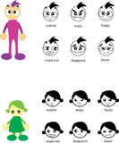 Human's face. Cartoon character and their emotion stock illustration