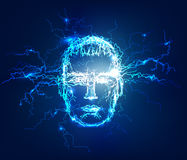Human's face. Abstract background made of Electric lighting effect. Abstract background made of Electric lighting effect. Line Stock Photos