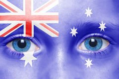 Human`s face with australian flag royalty free stock photos