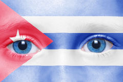 Human`s face with cuban flag. Human`s face with national cuban flag Royalty Free Stock Image