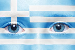 Human`s face with greek flag. Human`s face with nationa greek flag royalty free stock photo
