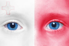 Human`s face with maltese flag. Human`s face with national  maltese flag Stock Images