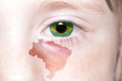 Human& x27;s face with national flag and map of brazil. Concept stock photos