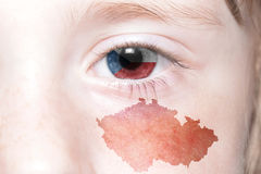 Human& x27;s face with national flag and map of czech republic. stock photography
