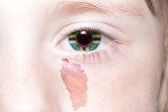 Human& x27;s face with national flag and map of dominica. Concept stock photos