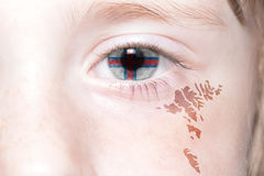 Human& x27;s face with national flag and map of faroe islands. Royalty Free Stock Photo