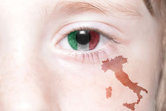 Human& x27;s face with national flag and map of italy. Human& x27;s face with national flag and map of italy. concept Stock Photography