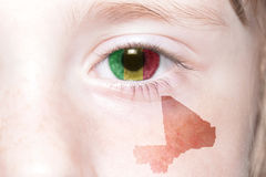 Human& x27;s face with national flag and map of mali. Human& x27;s face with national flag and map of mali. concept Royalty Free Stock Photos