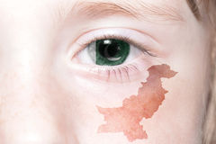Human& x27;s face with national flag and map of pakistan. Stock Photography