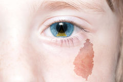 Human& x27;s face with national flag and map of saint lucia. Stock Photography