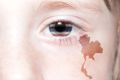 Human& x27;s face with national flag and map of thailand. Concept royalty free stock images