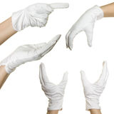 Human's hands in white glove Stock Images