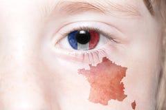 Human& x27; s oko z flaga państowowa i mapą France Zdjęcia Stock