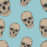 Human scull sketch pattern. On blue background Royalty Free Stock Photos