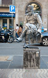Human sculpture Las Ramblas Barcelona Stock Photography