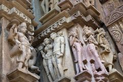Human Sculptures of Kandariya Mahadeva Temple, dedicated to Shiva, Khajuraho, Madhya Pradesh, India - UNESCO world heritage site. Royalty Free Stock Image