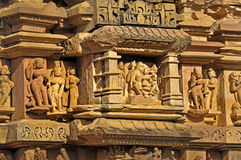 Human Sculptures at Khajuraho, India - UNESCO world heritage site. Royalty Free Stock Image
