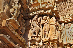 Human Sculptures at Khajuraho, India - UNESCO world heritage site. Royalty Free Stock Photo