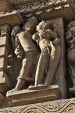 Human Sculptures at Vishvanatha Temple, Western temples of Khajuraho, Madhya Pradesh, India - UNESCO world heritage site. Royalty Free Stock Photography