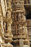 Human Sculptures at Vishvanatha Temple, Western temples of Khajuraho, Madhya Pradesh, India - UNESCO world heritage site. Royalty Free Stock Photos