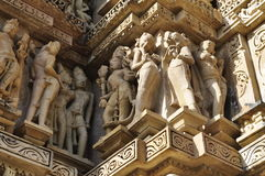 Human Sculptures at Vishvanatha Temple, Western temples of Khajuraho, Madhya Pradesh, India. UNESCO world heritage site. Stock Photo