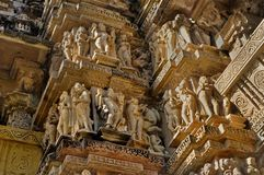 Human Sculptures at Vishvanatha Temple, Western temples of Khajuraho, Madhya Pradesh, India - an UNESCO world heritage site. Royalty Free Stock Image