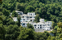 Human settlement. Settlement of new houses white in the wood of Pelion, Greece Royalty Free Stock Image