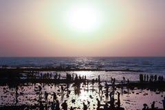 Human shadows at sunset Royalty Free Stock Images