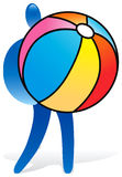 Human shape. Human figure with huge beach ball Vector Illustration