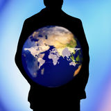 Human shape and global map connection background, social nets an Royalty Free Stock Photos