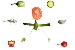 Human shape made of vegetables. Human shape running made of vegetables Royalty Free Stock Photos