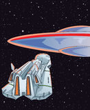 Alien encounter. Human ship meeting a ufo Stock Photography