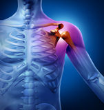Human Shoulder Pain. With an anatomy injury caused by sports accident or arthritis as a skeletal joint problem or as a medical health care illustration of  a Stock Photography