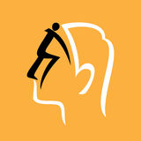 Human side face illustration on yellow background Royalty Free Stock Photos