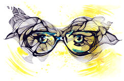 Human sight. Painting of sun glasses on eyes Stock Images