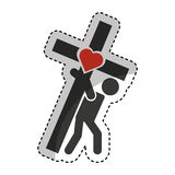 Human silhouette carrying the cross Stock Images
