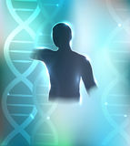 Human silhouette and DNA Stock Image