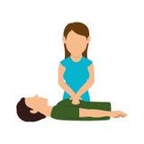 human silhouette doing resuscitation stock illustration