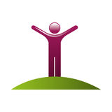 Human silhouette with hands up. Vector illustration design Royalty Free Stock Photos